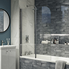 Cruze 1100 x 1400 Chrome 6mm Bi-Fold Hinged Bath Screen profile small image view 1