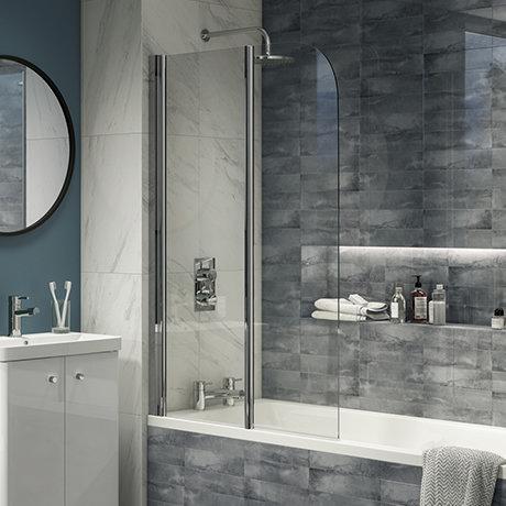 Cruze 900 x 1400 Chrome 6mm Bi-Fold Hinged Bath Screen