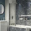 Cruze 900 x 1400 Chrome 6mm Bi-Fold Hinged Bath Screen profile small image view 1