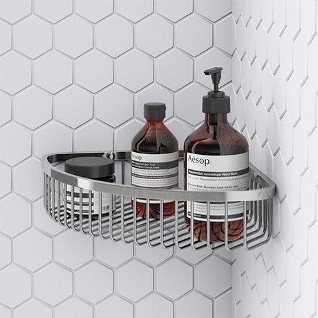 Arezzo Chrome Wire Corner Shower Basket