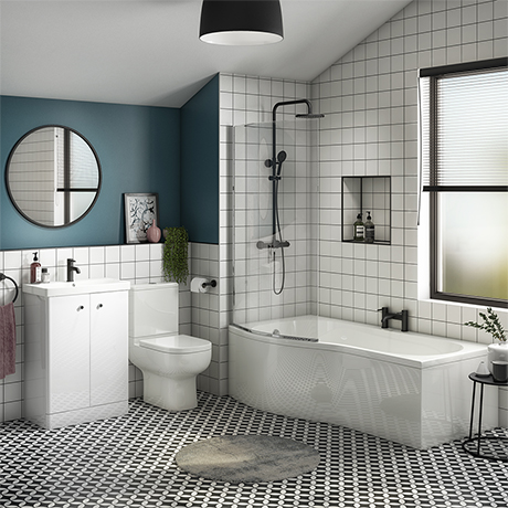 Cruze B-Shaped Shower Bath Suite - 1700mm with Vanity Unit and Toilet