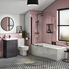 Cruze B-Shaped Shower Bath Suite - 1700mm with Grey Vanity Unit and Toilet profile small image view 1