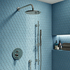 Cruze Chrome Shower System (Valve inc. 200mm Fixed Head + Slide Rail Kit with Handset) profile small image view 1
