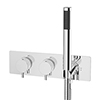 Cruze Round Wall Mounted Thermostatic Shower Valve with Handset profile small image view 1