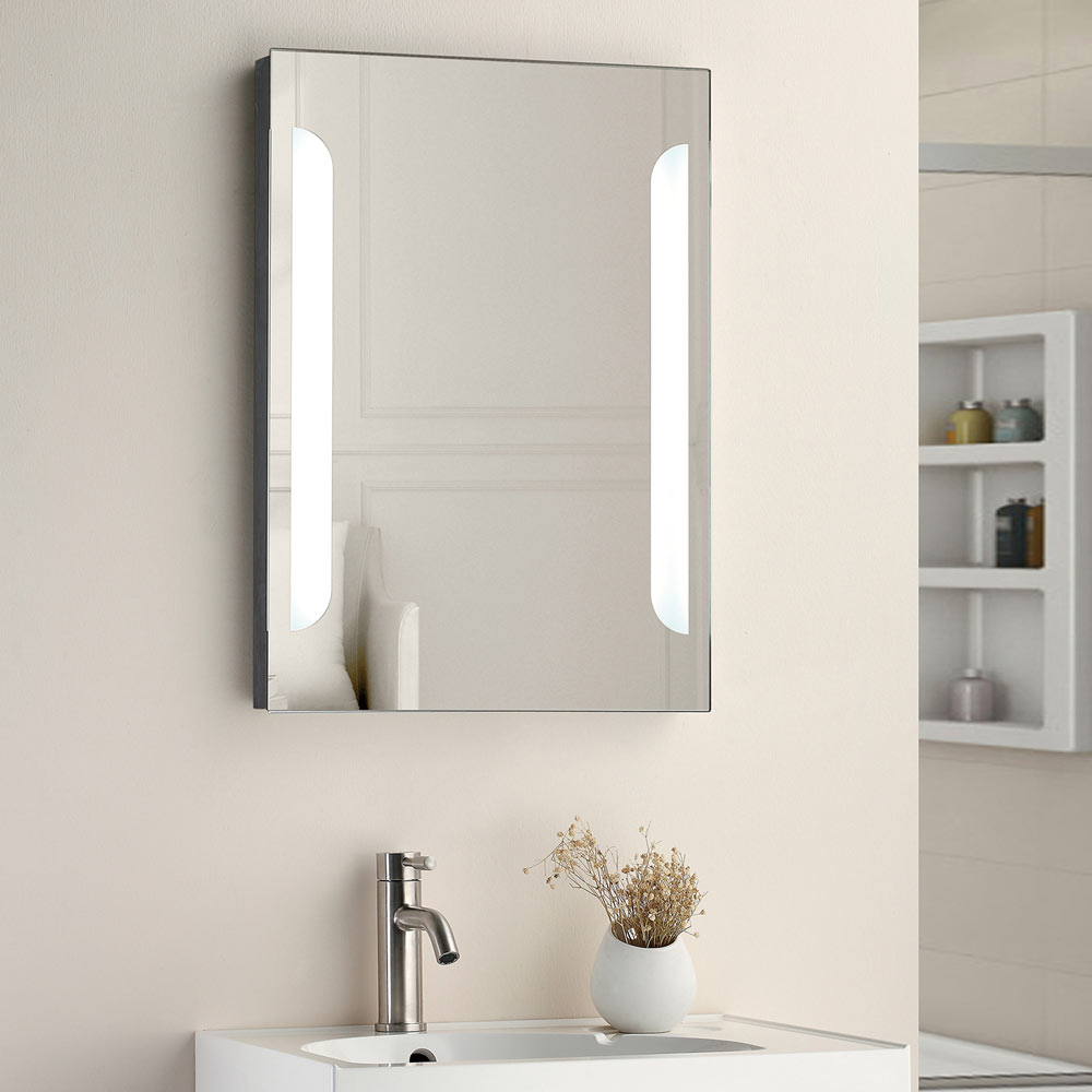 Calgary 500x700mm LED Mirror Inc. Touch Sensor, Anti-Fog + Shaving Port - Close up image of an modern LED mirror
