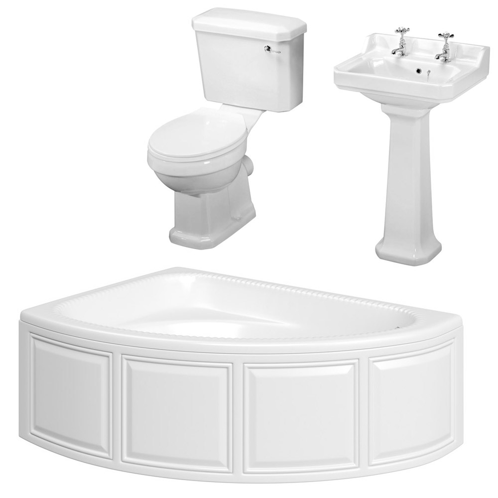 Carlton Bathroom Suite with Reef Offset Corner Bath Large Image