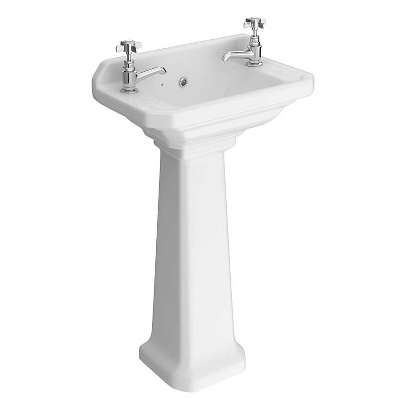 Carlton Cloakroom Basin with Full Pedestal - C-SLM-P - Close up image of a traditional cloakroom basin with full pedestal.