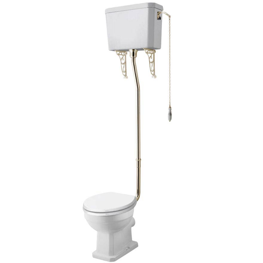Carlton Gold High Level Traditional Toilet (WC, Cistern + Pan) Large Image