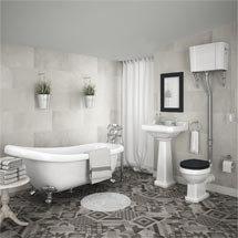 Carlton High Level Bathroom Suite + Roll Top Bath Medium Image