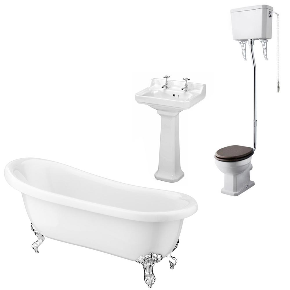 Carlton High Level Bathroom Suite + Roll Top Bath Large Image