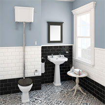 Carlton High Level Bathroom Suite - High Level Toilet Inc. 2TH Basin & Pedestal Medium Image