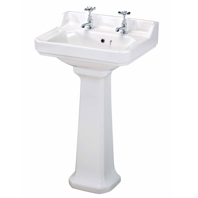 Carlton Low Level Bathroom Suite - Low level toilet with 2TH basin & full pedestal Profile Large Image
