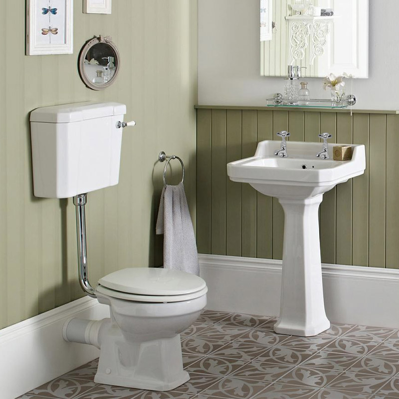 Carlton Low Level Bathroom Suite - Low level toilet with 2TH basin & full pedestal Large Image