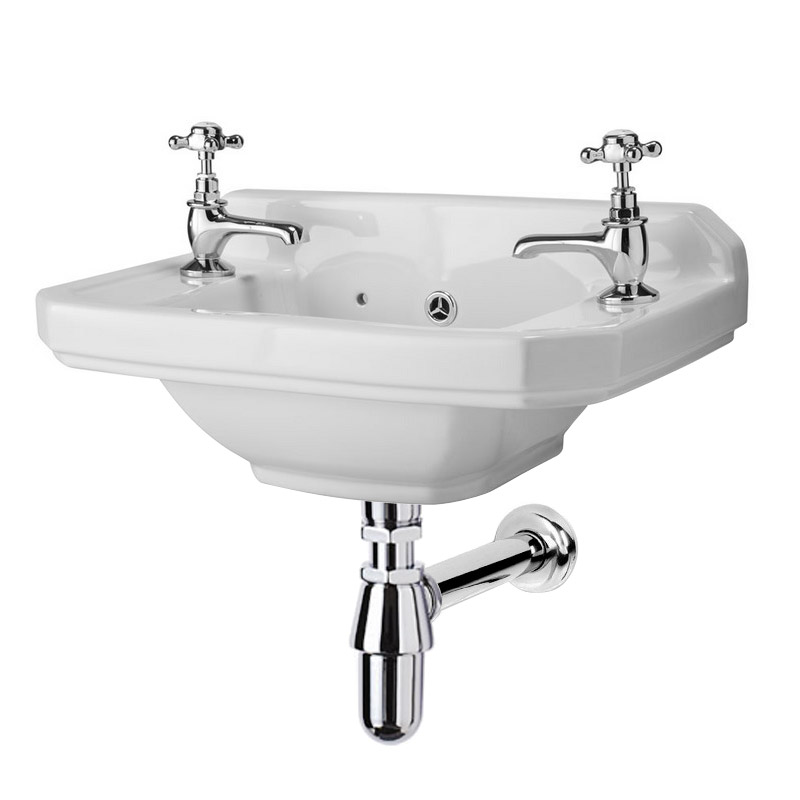 Carlton 515mm Traditional Cloakroom Basin (2 Tap Hole - Depth 300mm) Large Image