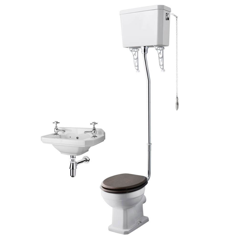 Carlton Traditional Cloakroom Suite - High level Toilet + Wall Hung Basin Large Image
