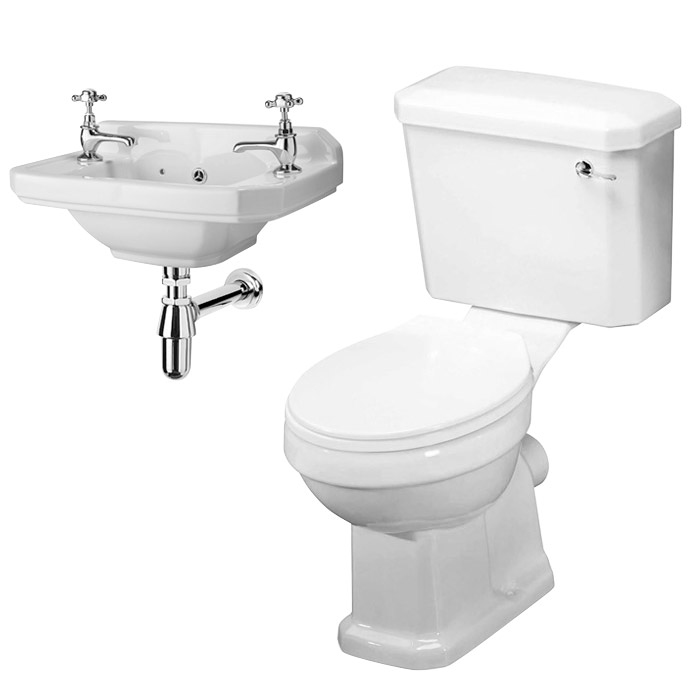 Carlton Traditional Cloakroom Suite - Close Couple Toilet & Wall Hung Basin Profile Large Image