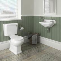 Carlton Traditional Cloakroom Suite - Close Couple Toilet & Wall Hung Basin Medium Image