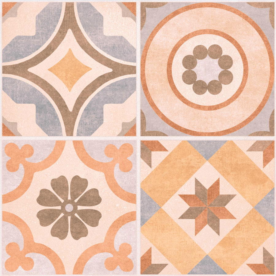 Carmona Porcelain Patterned Wall and Floor Tiles - 300 x 300mm  In Bathroom Large Image