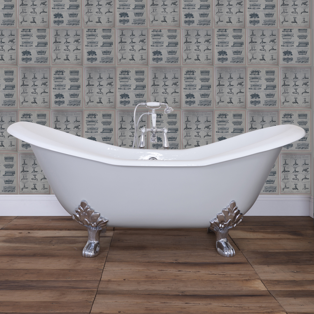 cast iron roll top bath 1825x780mm with feet in bathroom large image