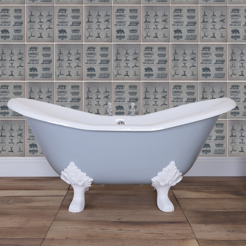 JIG Banburgh Small 2TH Cast Iron Roll Top Bath (1560x765mm) with Feet profile large image view 5