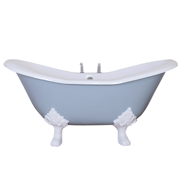 JIG Banburgh Small 2TH Cast Iron Roll Top Bath (1560x765mm) with Feet Large Image