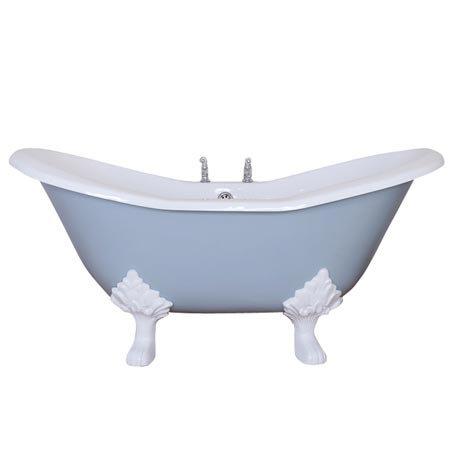 JIG Banburgh Small 2TH Cast Iron Roll Top Bath (1560x765mm) with Feet