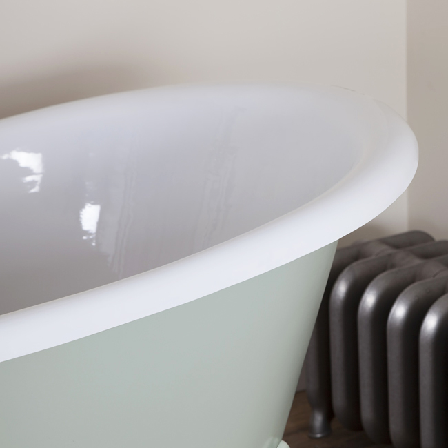 JIG Belvoir 0TH Cast Iron Roll Top Bath (1840x780mm) with White Feet profile large image view 4