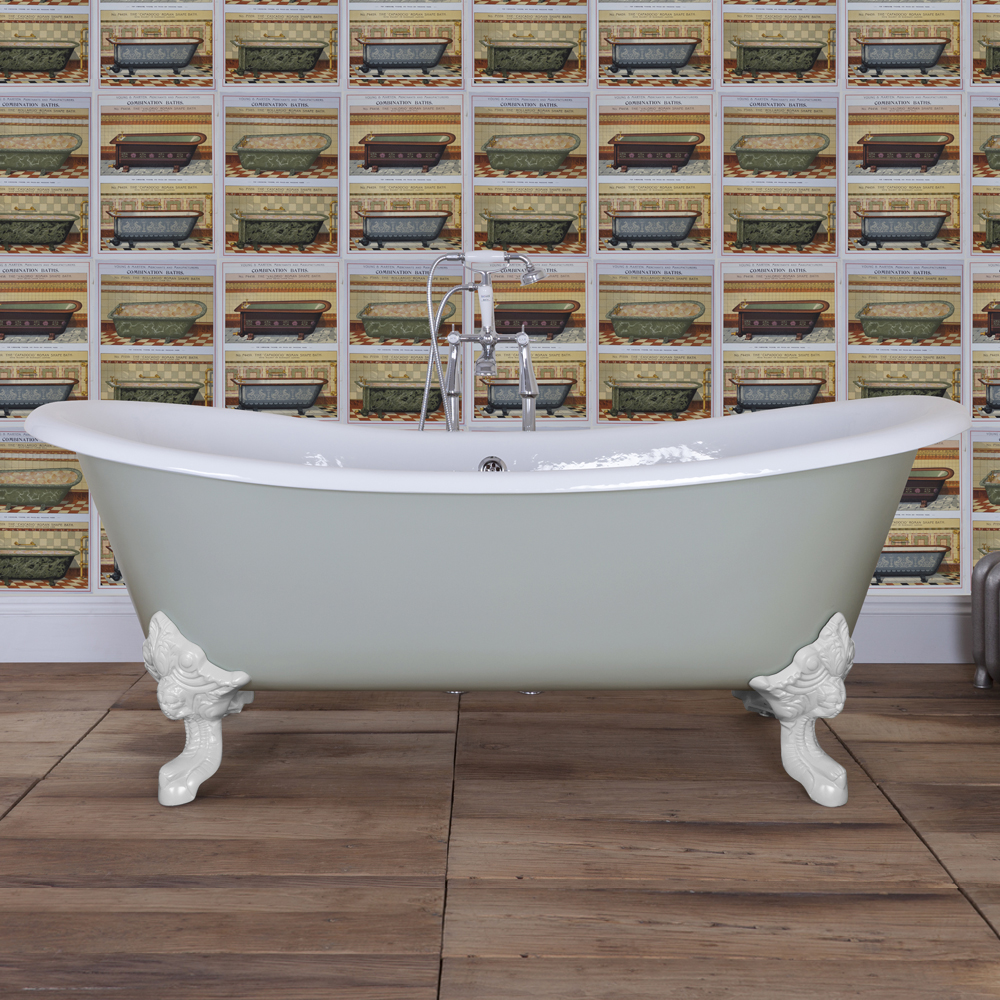 JIG Belvoir 0TH Cast Iron Roll Top Bath (1840x780mm) with White Feet In Bathroom Large Image