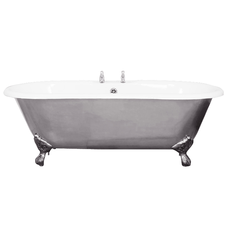 JIG Bisley Fully Polished Cast Iron Roll Top Bath (1690x750mm) with Feet Large Image