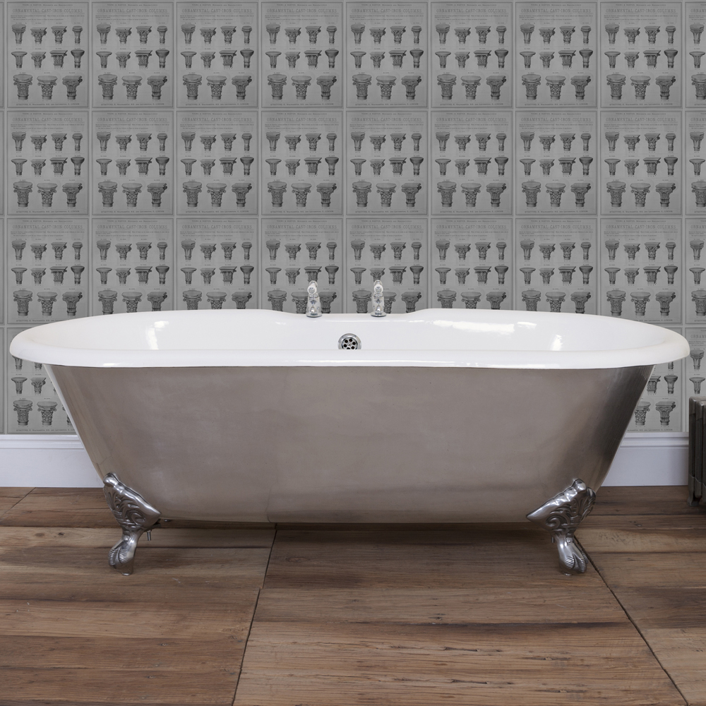 JIG Bisley Fully Polished Cast Iron Roll Top Bath (1690x750mm) with Feet profile large image view 3