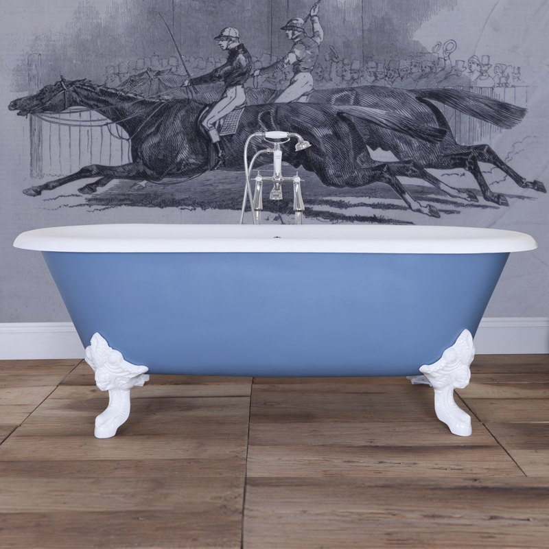 JIG Cartmel Cast Iron Roll Top Bath (1850x800mm) with White Feet profile large image view 5