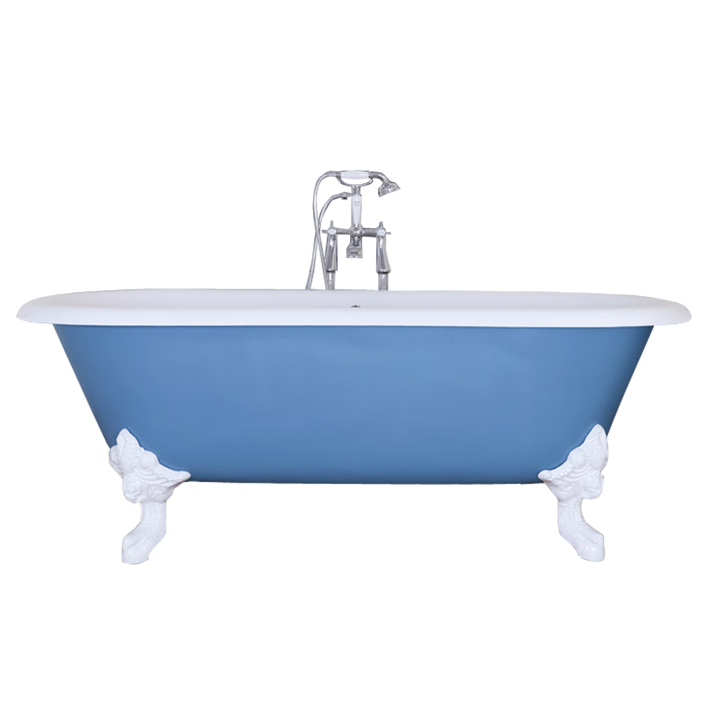 JIG Cartmel Cast Iron Roll Top Bath (1850x800mm) with White Feet profile large image view 1