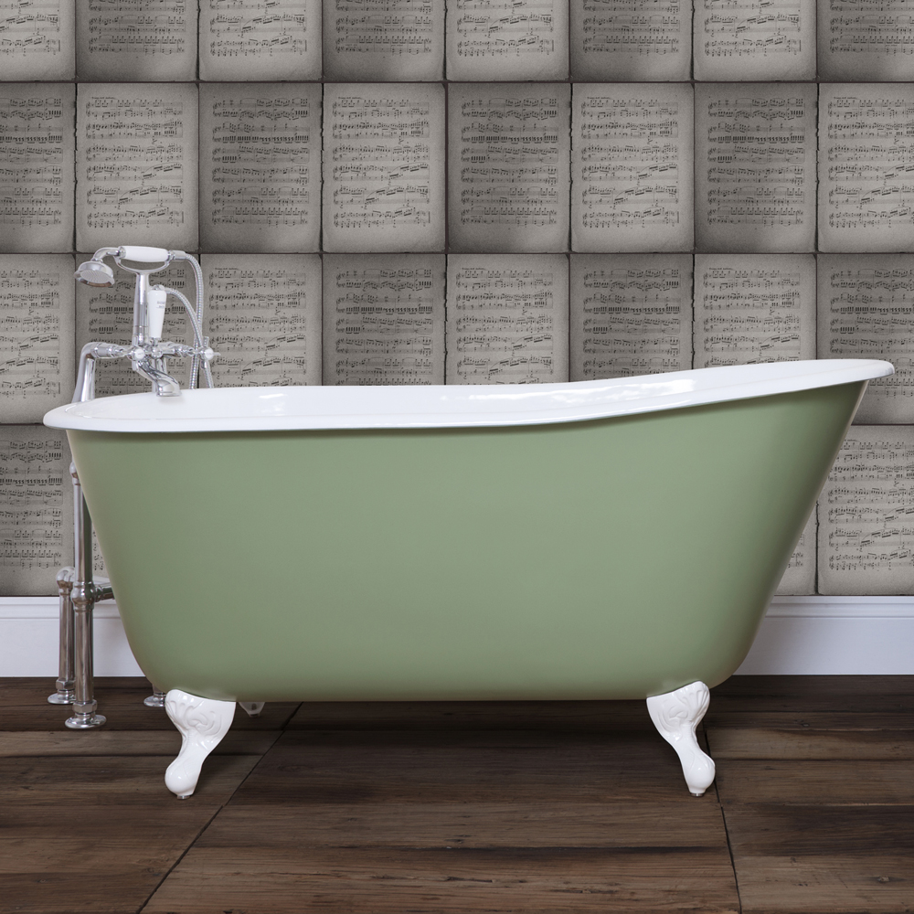 JIG Lille 0TH Cast Iron Roll Top Bath (1450x700mm) with Feet In Bathroom Large Image