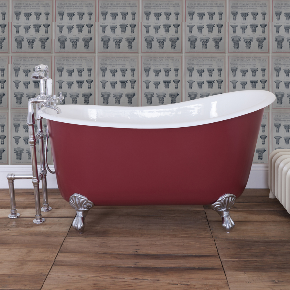JIG Lyon Cast Iron Roll Top Slipper Bath (1370x730mm) with Feet Standard Large Image