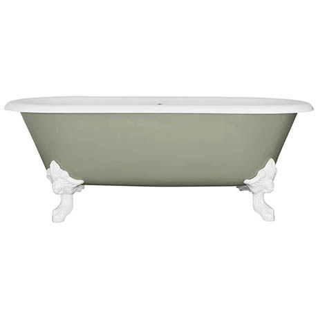 JIG Cartmel Cast Iron Roll Top Bath (1850x800mm) with White Feet