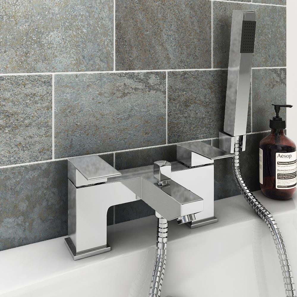 Cast Bath Shower Mixer with Shower Kit - Chrome Profile Large Image