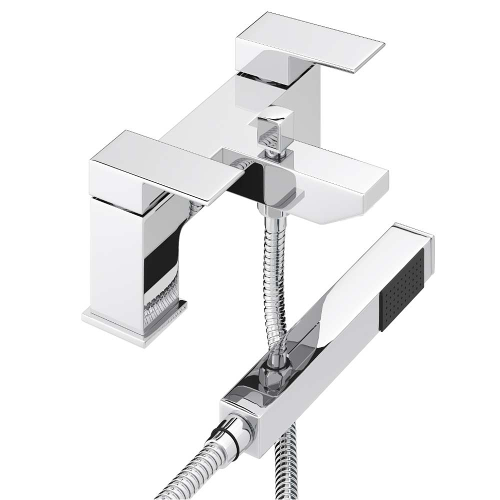 Cast Bath Shower Mixer with Shower Kit - Chrome Large Image
