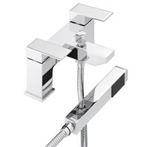 Cast Bath Shower Mixer with Shower Kit - Chrome Medium Image