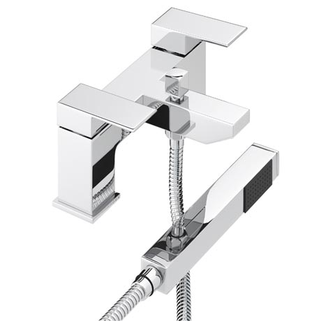 Cast Bath Shower Mixer with Shower Kit - Chrome