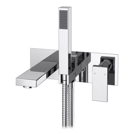 Cast Wall Mounted Bath Shower Mixer Tap + Shower Kit
