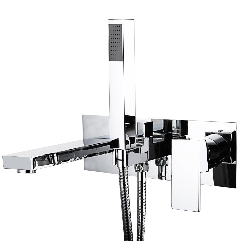 Cast Bath Shower Mixer Tap + Shower Kit Large Image