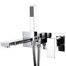 Cast Bath Shower Mixer Tap + Shower Kit Medium Image