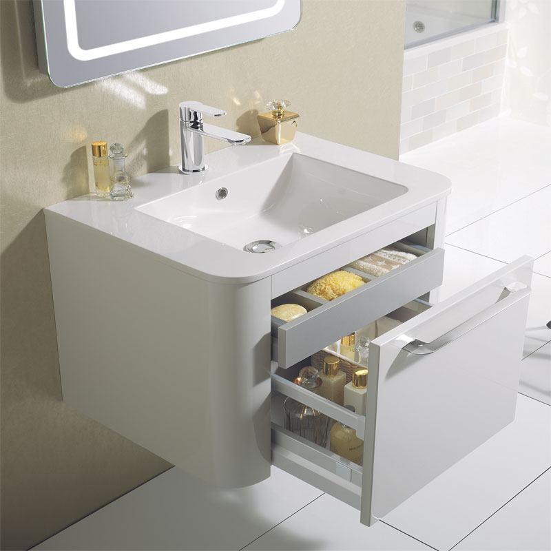 Bauhaus Celeste Vanity Unit with Basin - White Gloss profile large image view 3