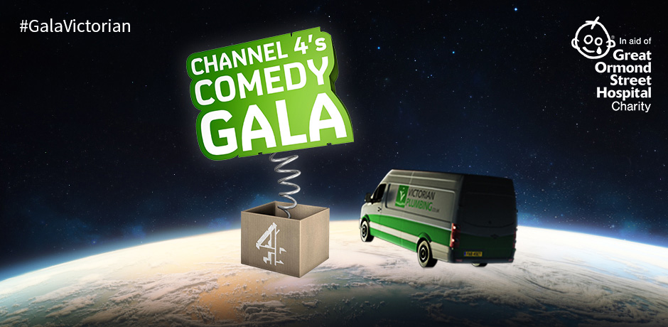 Alan Carr takes over Victorian Plumbing 'flying van' TV ad at Channel 4 Comedy Gala 2016