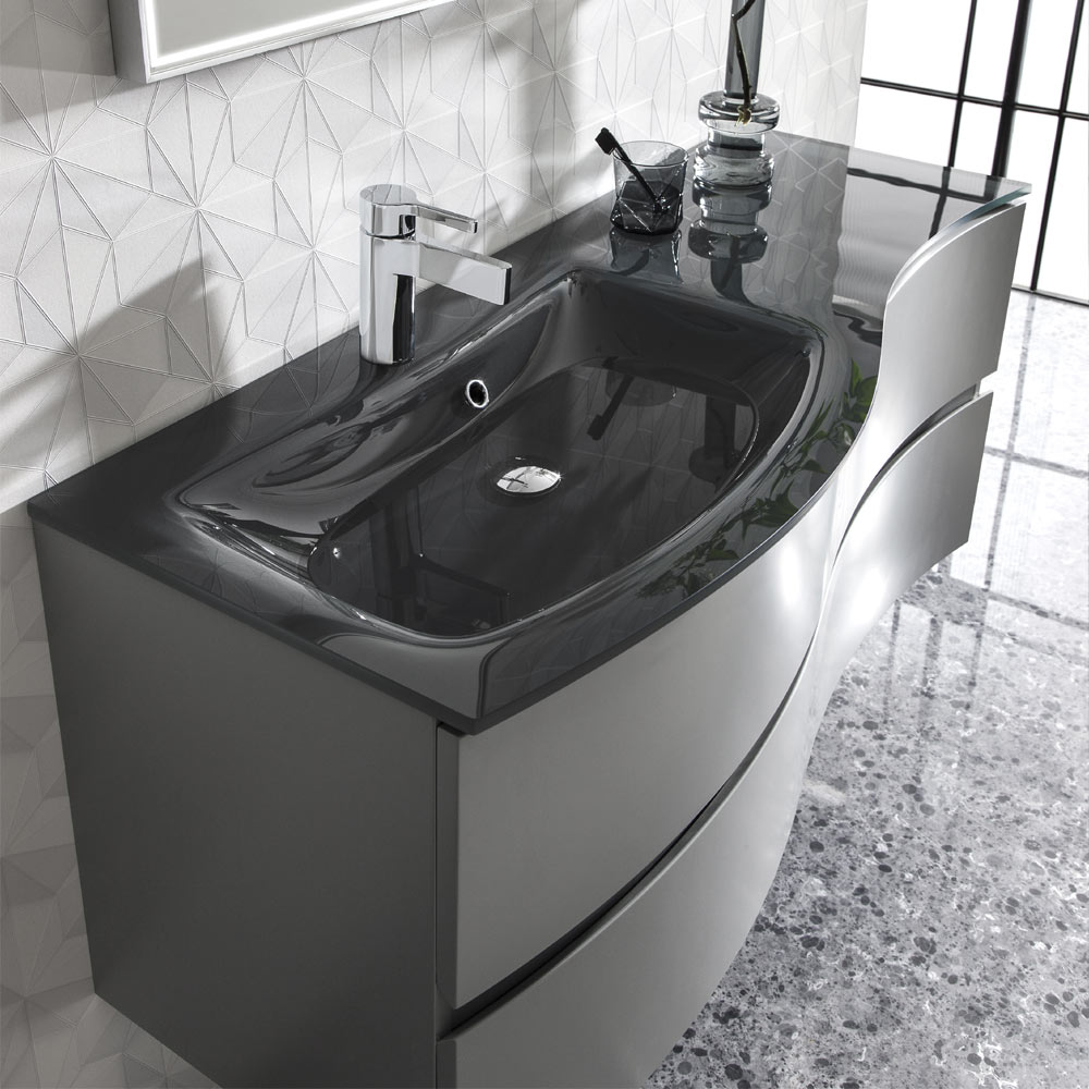 Bauhaus Svelte 120 Two Drawer Vanity Unit & Charcoal Glass Basin - Storm Grey Matt