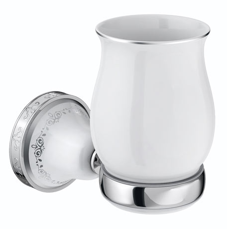 Charlbury Traditional Ceramic Tumbler & Holder - Chrome