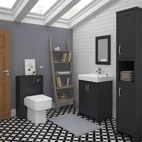 The Chatsworth 3-Piece Traditional Suite in grey complete with toilet, basin, and tall cabinet