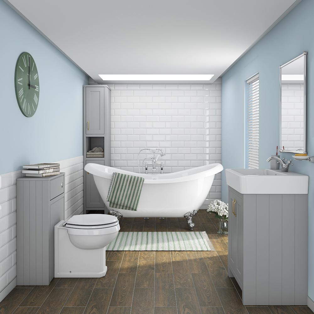 Chatsworth 3-Piece Traditional Grey Bathroom Suite  Feature Large Image