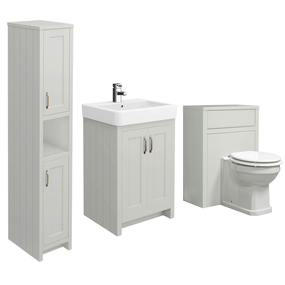 Chatsworth 3-Piece Traditional Grey Bathroom Suite  Profile Large Image