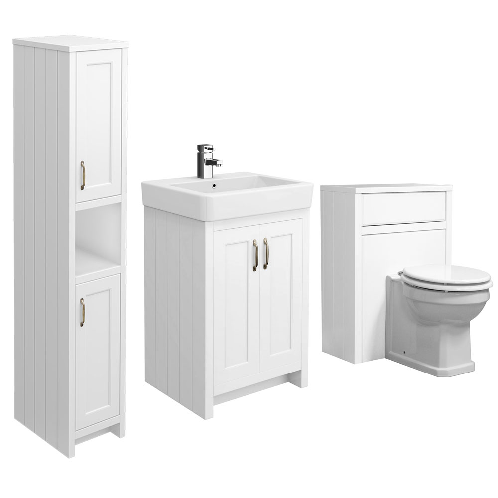 Chatsworth 3-Piece Traditional White Bathroom Suite profile large image view 2